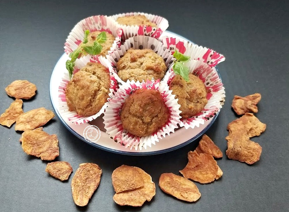 Banana Muffins with banana cinnamon chips and sprigs of mint