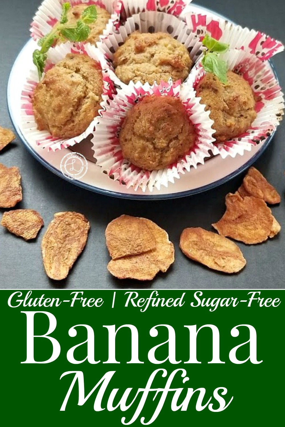 Banana Muffins on a plate with dried cinnamon bananas around it