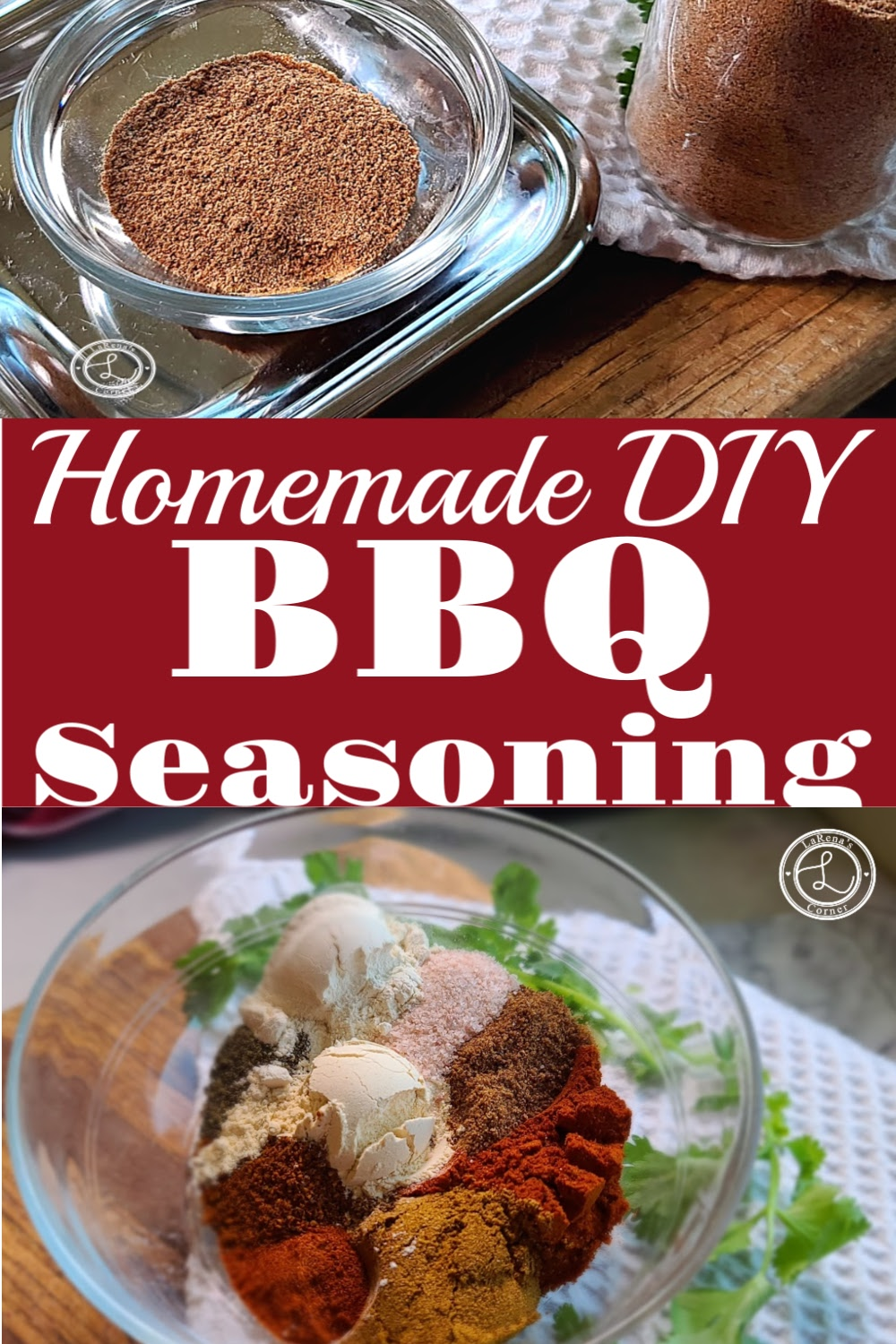 2 pictures of Homemade BBQ Seasoning. One of all the seasonings side by side. One in a small bowl.