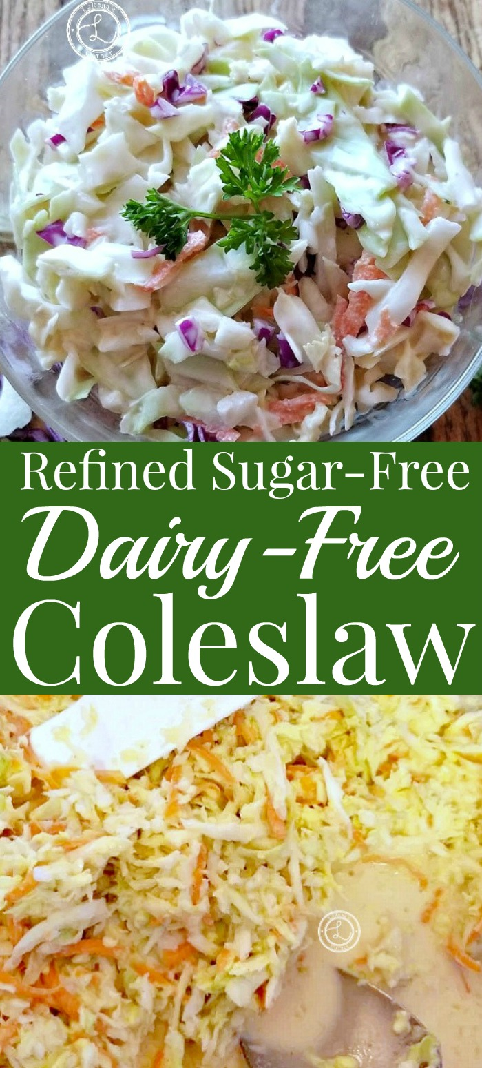 Coleslaw without red cabbage and a bowl with it.