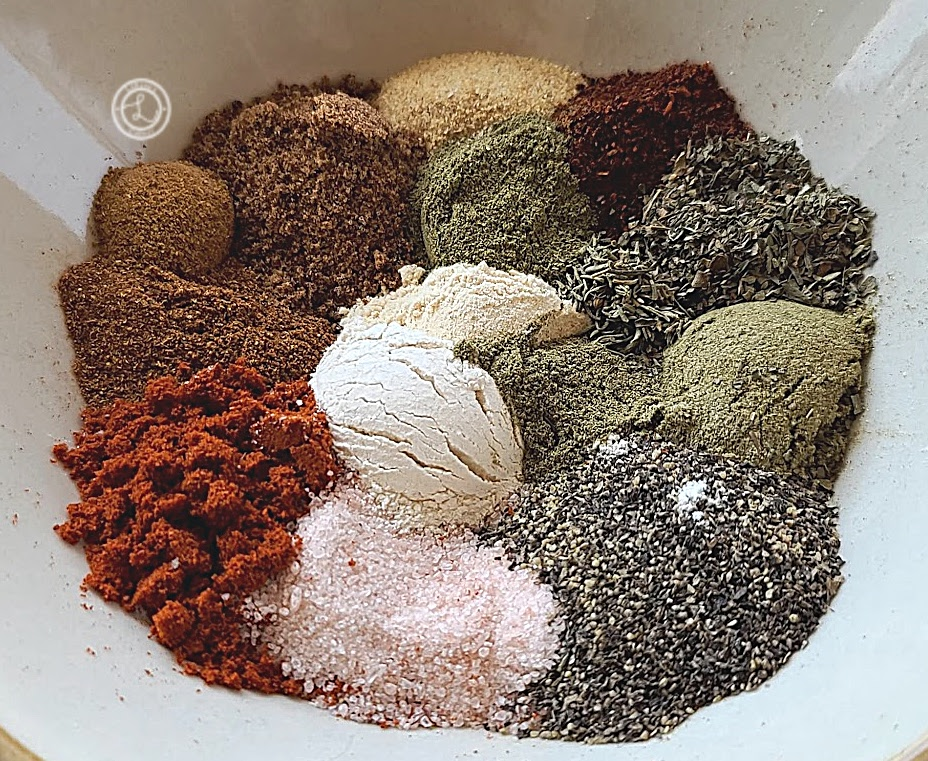 Savory Chicken Spice Rub showing all the different spices