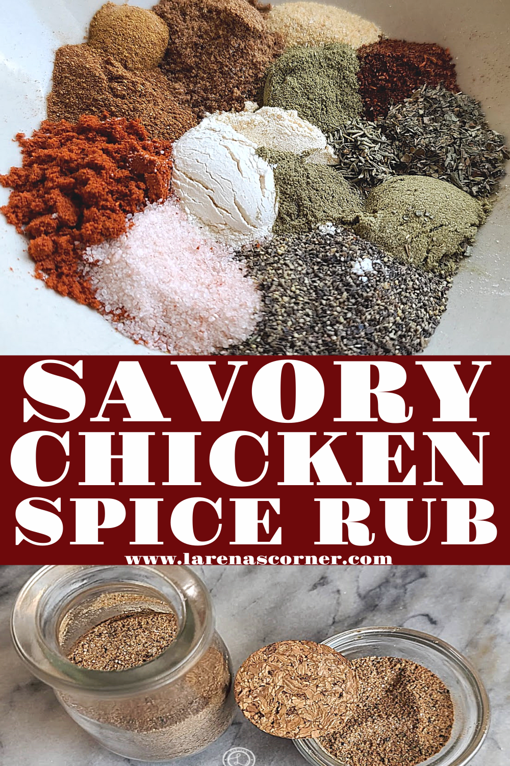 Savory Chicken Spice Rub. 2 pictures. One before being mixed. One after being mixed.