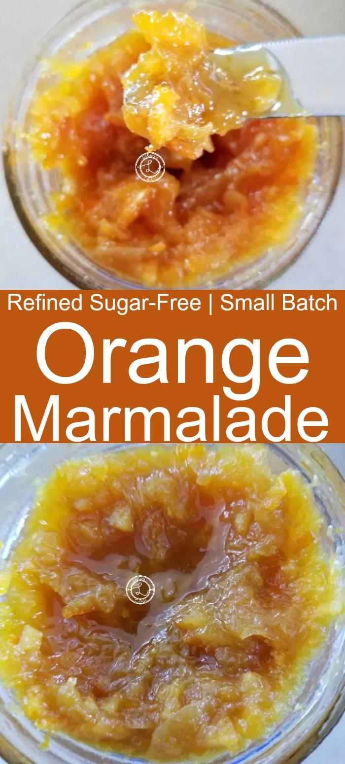 Small Batch Refined Sugar-Free Otange Marmalade in a small canning jar and on a knife