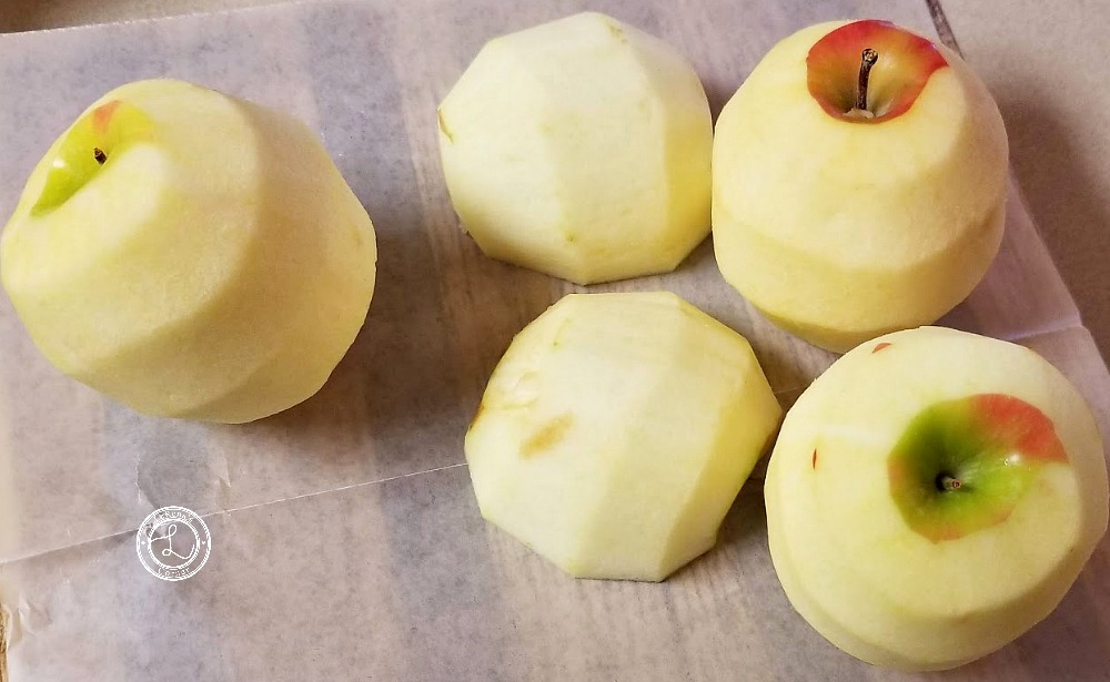 Peeled Apples ready to cut