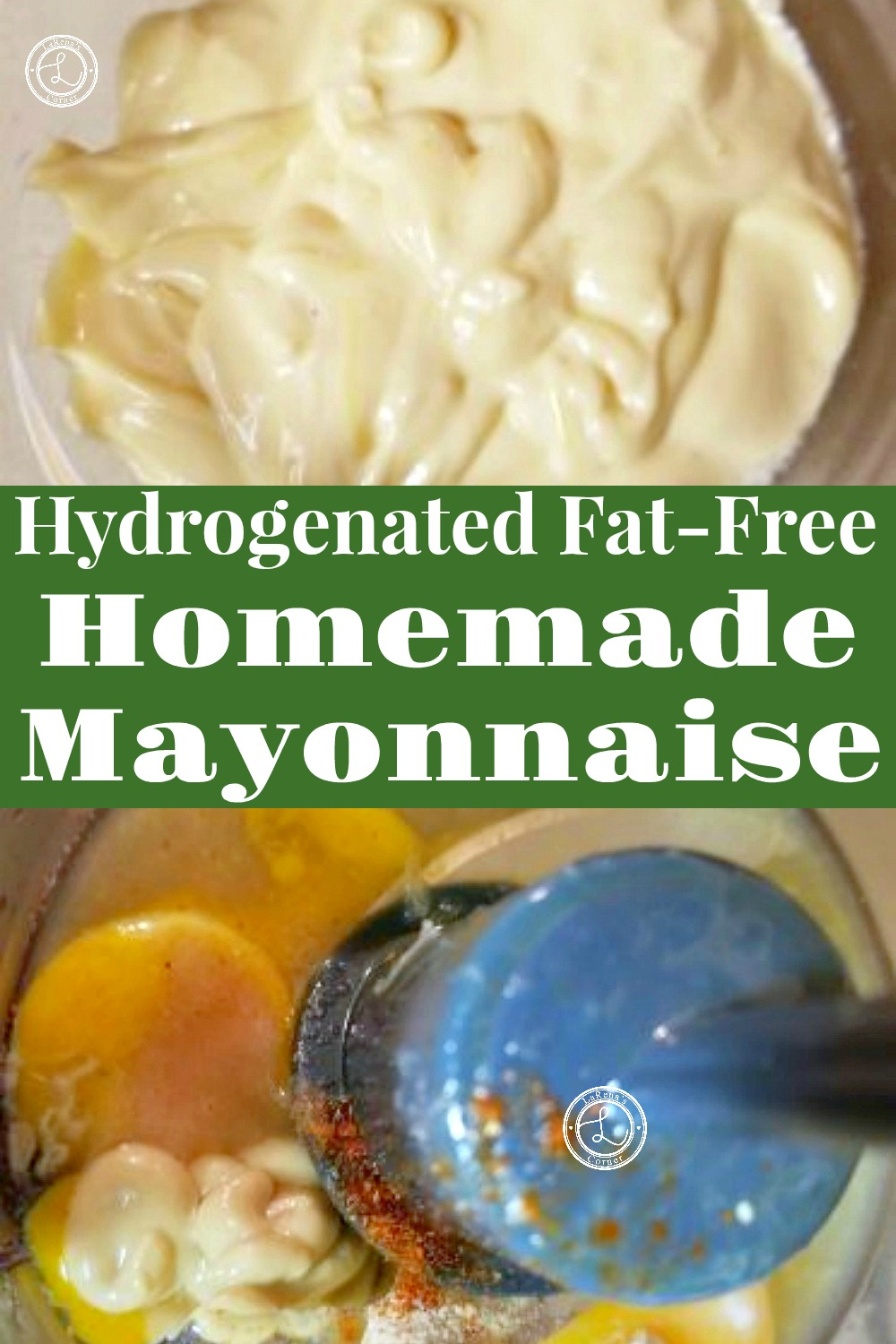 Two pictures of homemade mayonnaise. One with ingredients in a food processor and one after it is made.