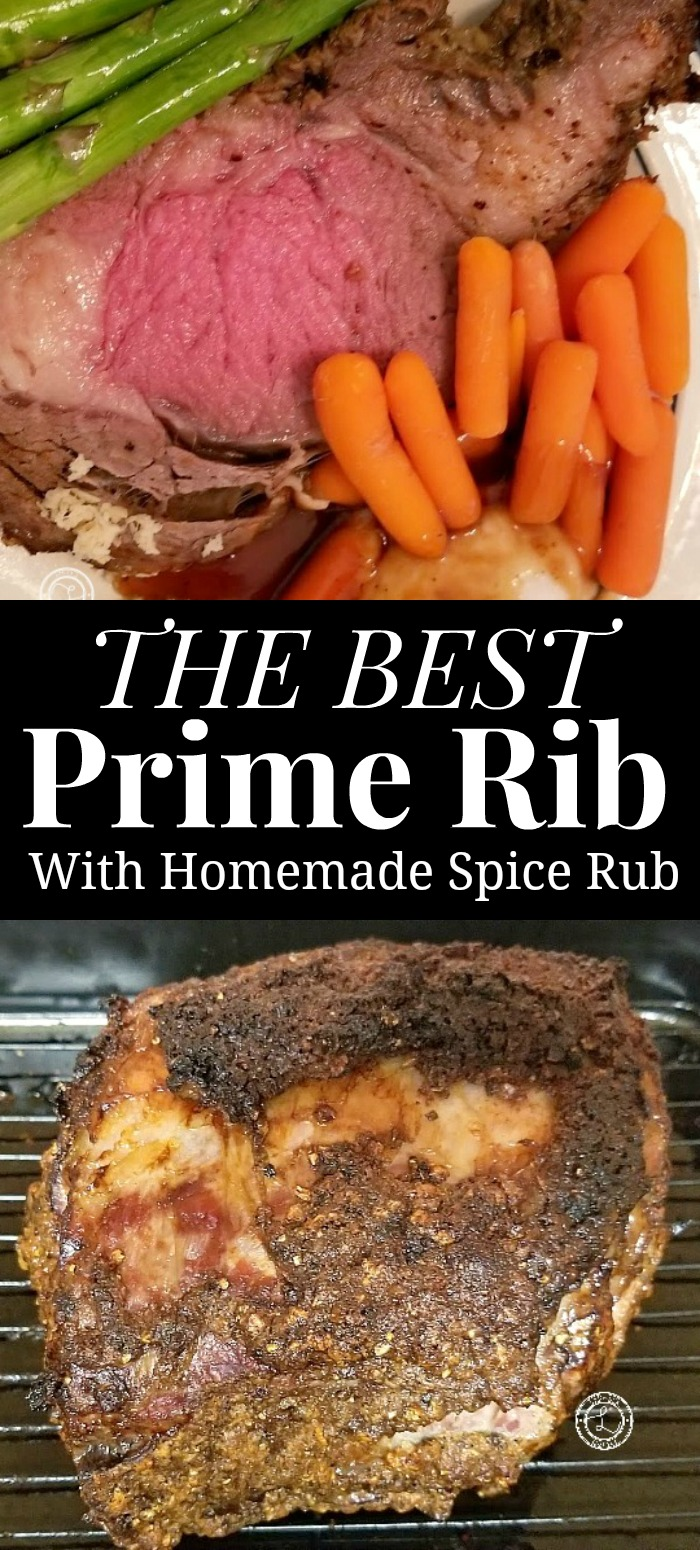Best Prime Rib Collage with whole roast and slice of roast.