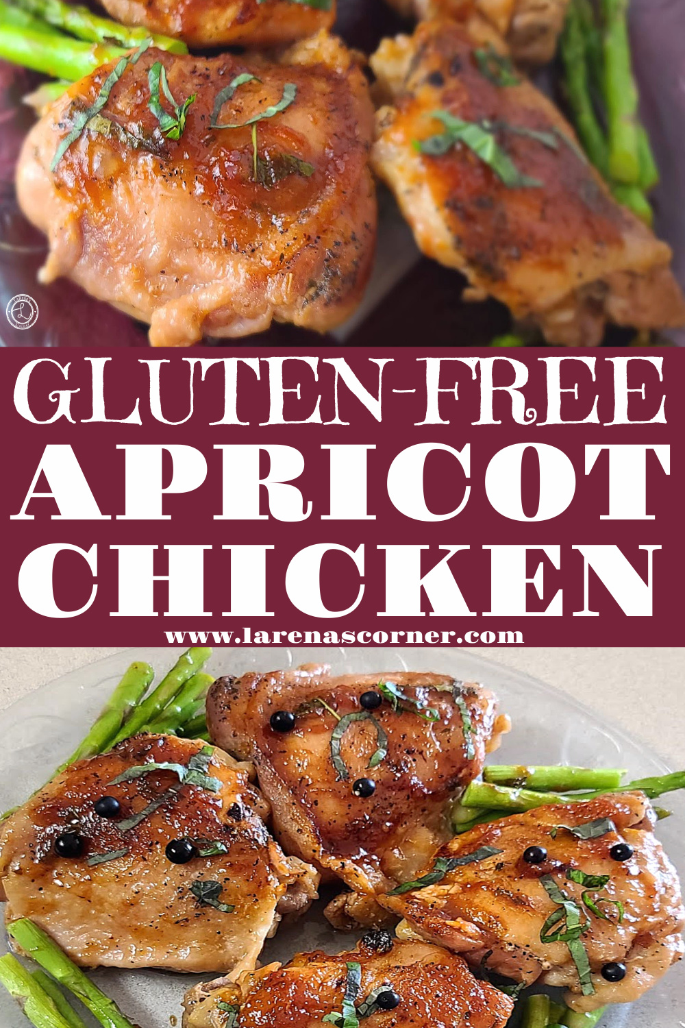 Italian Apricot Chicken. Two pictures of the chicken. One close up and one farther away.