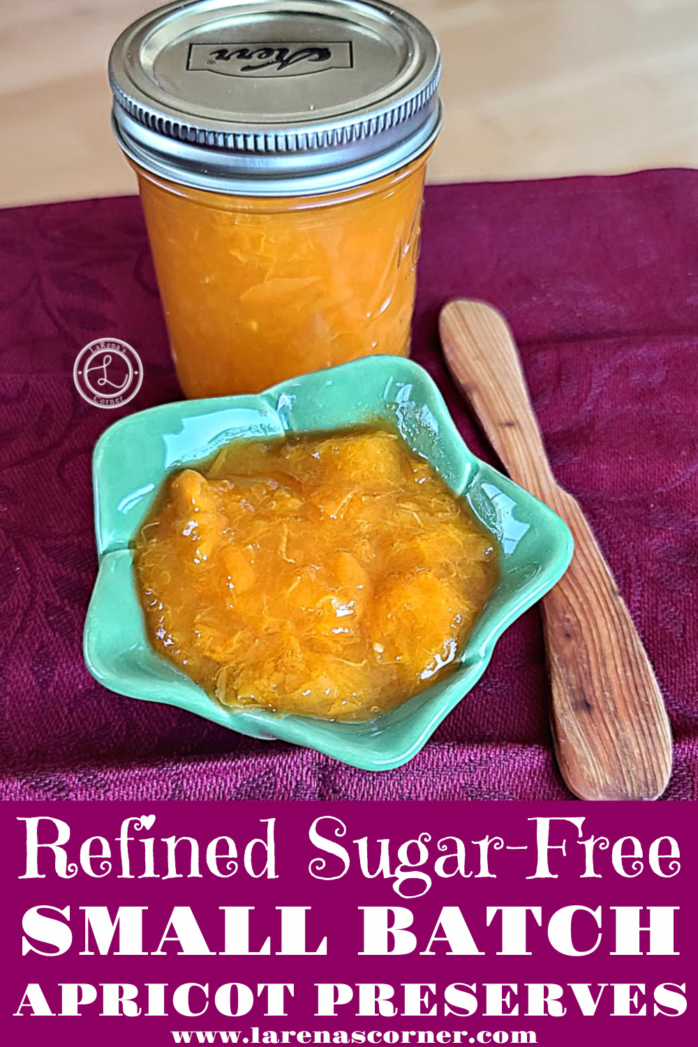 Small Batch Apricot Preserves in a small jar and in a bowl with a wooden spreading knife.