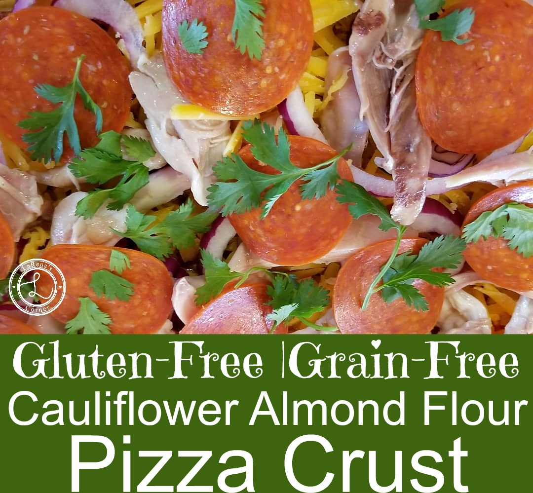 Cauliflower Almond Pizza Crust with toppings