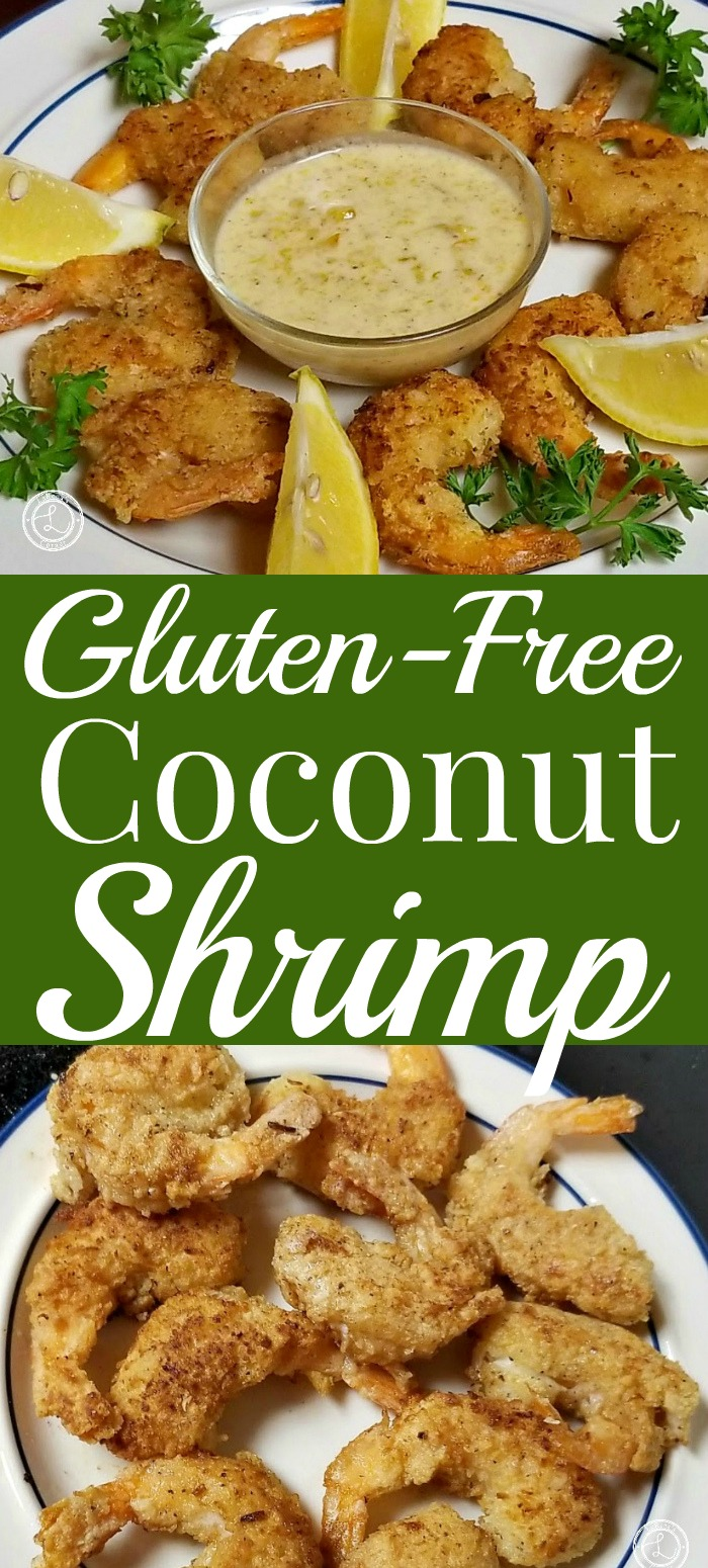 Coconut shrimp on a plate. Another plate of appetizer coconut shrmip with lemon wedges, parsley and dipping sauce
