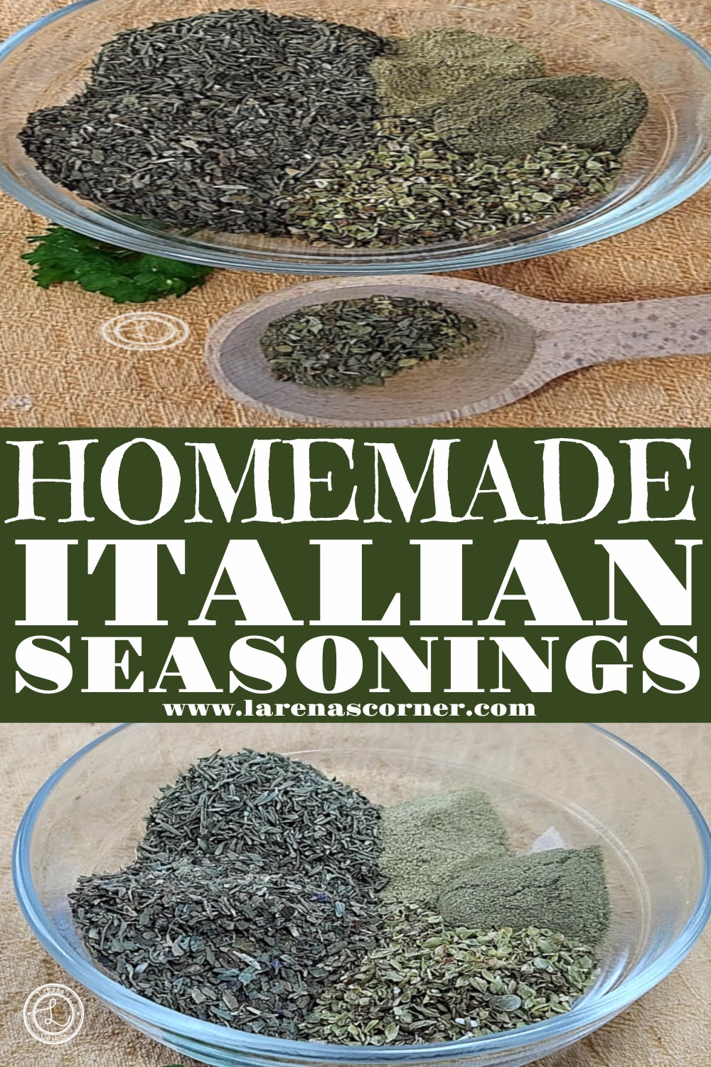 Two pictures of Homemade Italian Seasonings before being mixed.