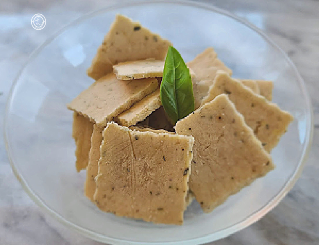Gluten-Free Sage & Thyme Crackers in a bowl.