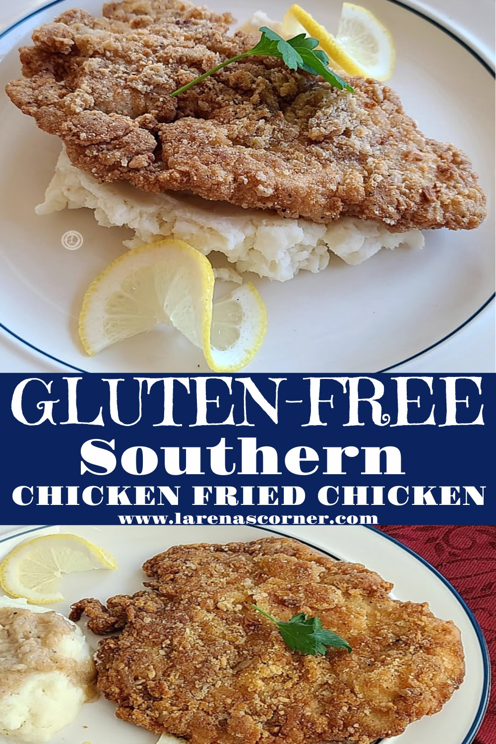 Two pictures of Gluten-Free Southern Chicken-Fried Chicken on 2 plates. One with gravy on potatoes. One on mashed potatoes.