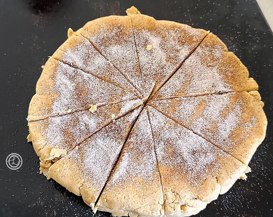 Gluten-Free Cinnamon Pumpkin Scones: Cut scones with cinnamon sugar on them