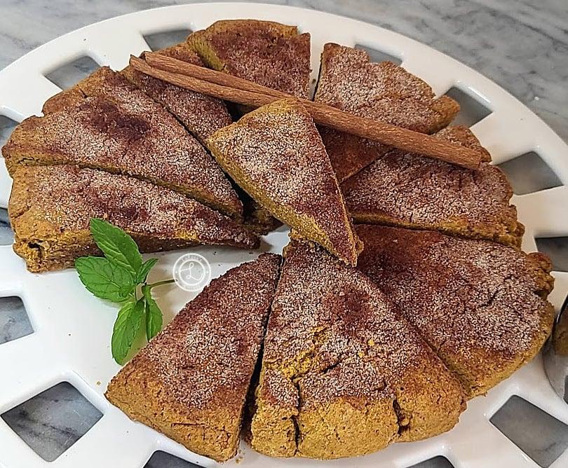 Gluten-Free Pumpkin Cinnamon Scones on a plate.