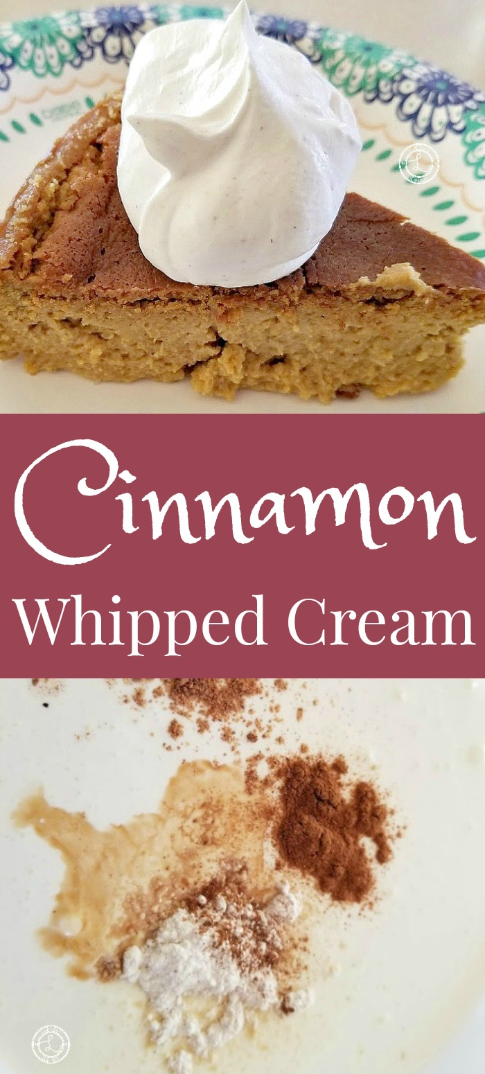 Cinnamon Whipped Cream on Pumpkin Cheesecake and ingredients to make.