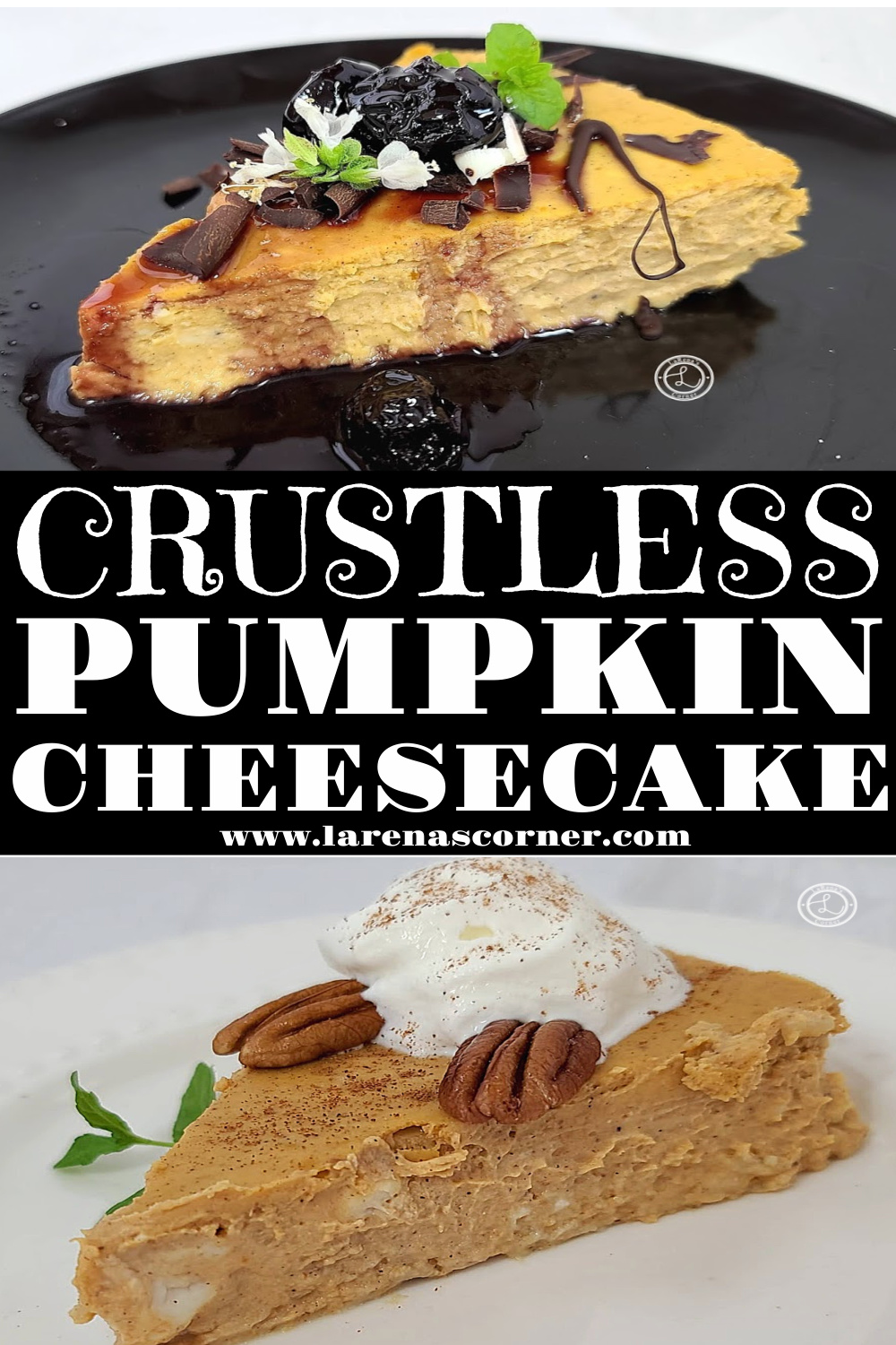 Two pictures of decorated Crustless Pumpkin cheesecake