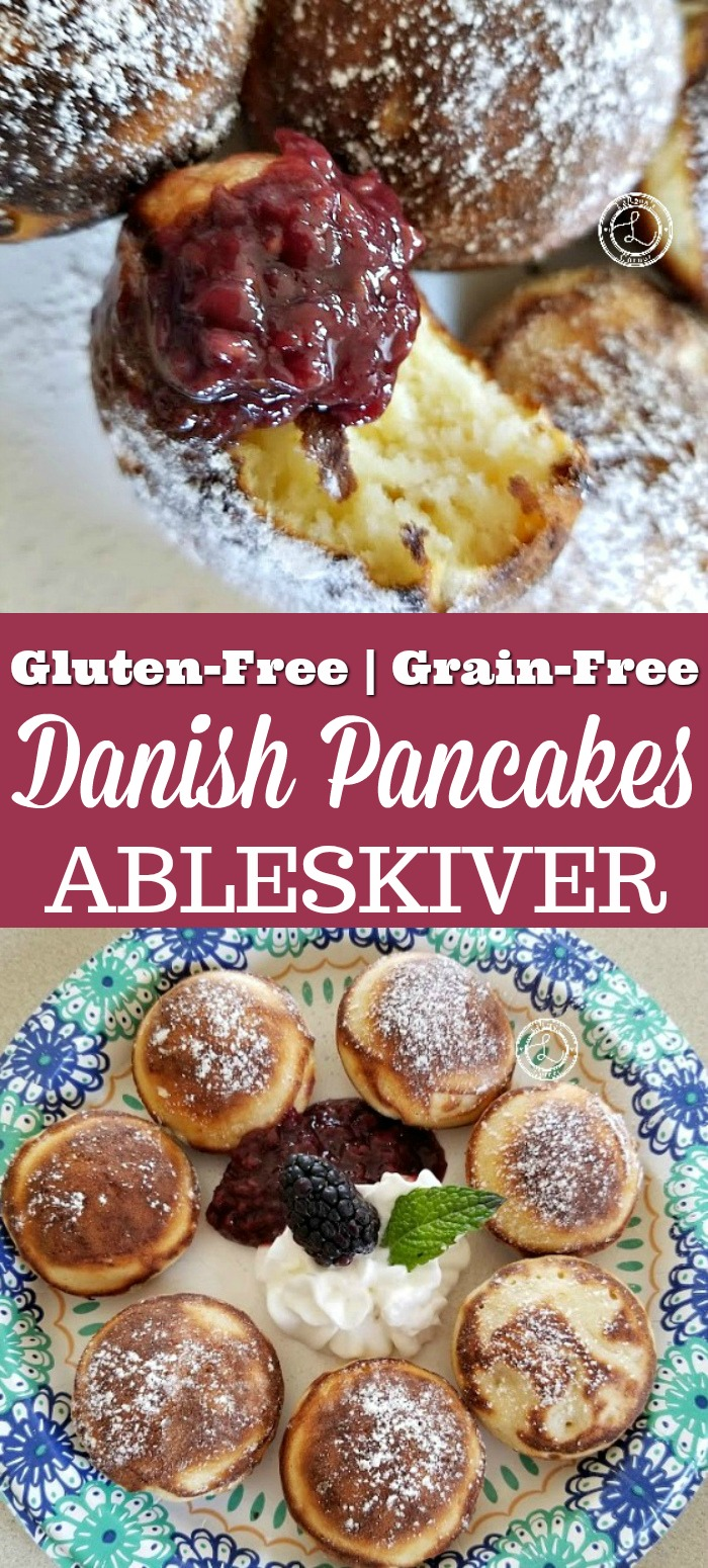 Gluten-Free Danish Pancakes Ableskiver Recipe collage with a plate of them and one picture of a pancake with jam an a small bite taken
