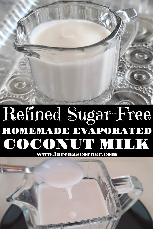 Serving the milk Homemade Evaporated Coconut MIlk