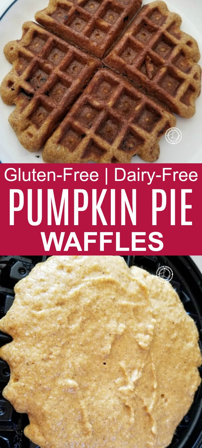 Gluten-Free Pumpkin Pie Waffles recipe with one cooking and one on a plate