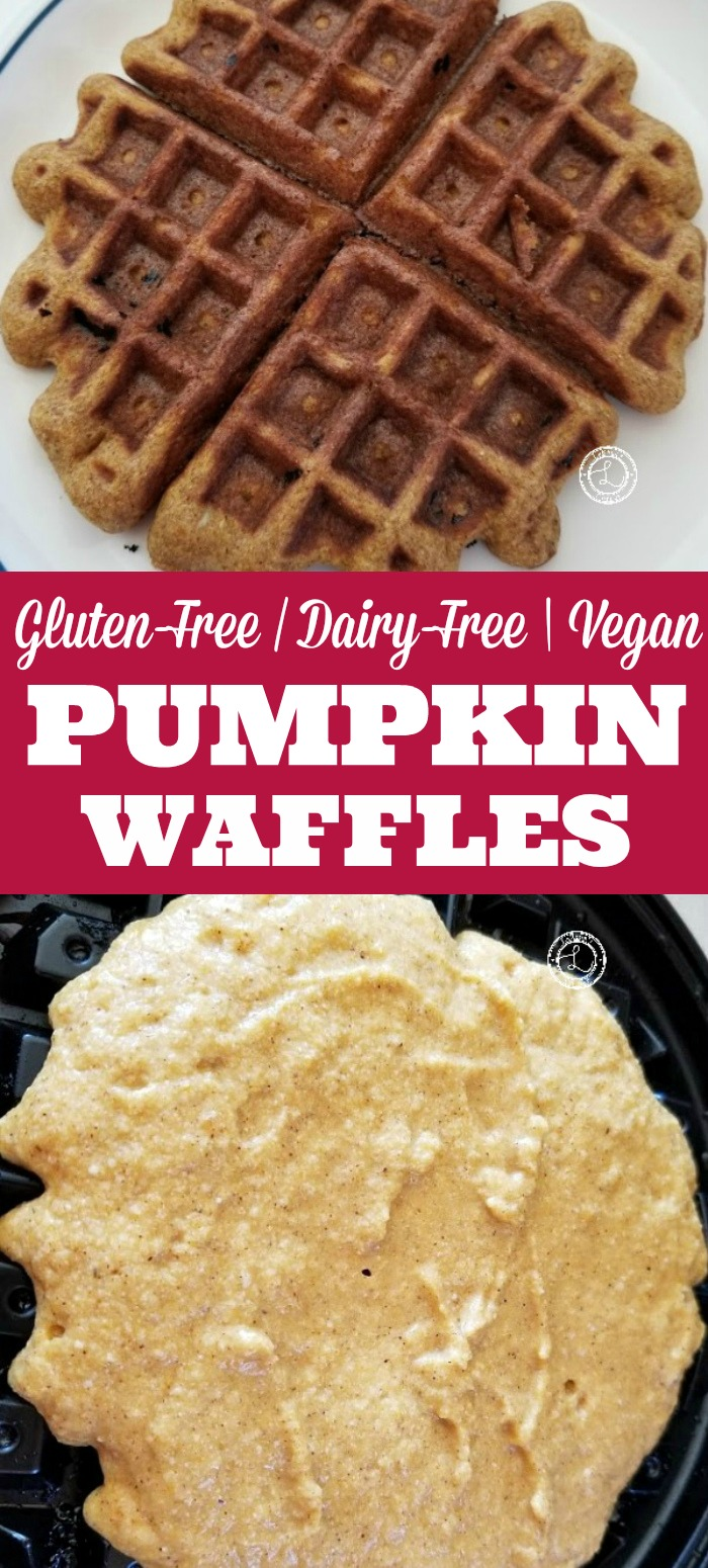 Gluten-Free Pumpkin Waffle Recipe collage a waffle in the waffle iron and one ready to eat on a plate.