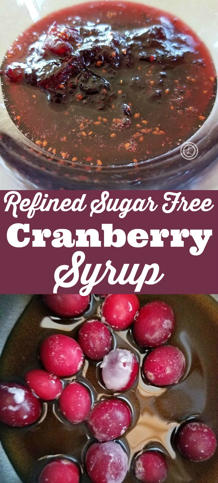 Refined Sugar Free Cranberry Syrup Recipe with frozen cranberries in a pot and cranberry syrup in a bowl.