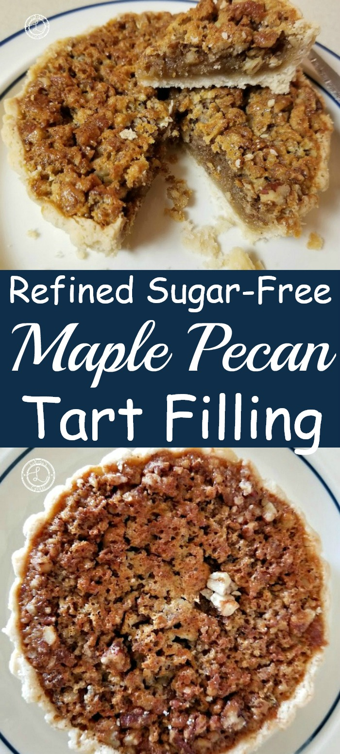 Maple Pecan Tart Filling on a plate with one tart with a slice missing
