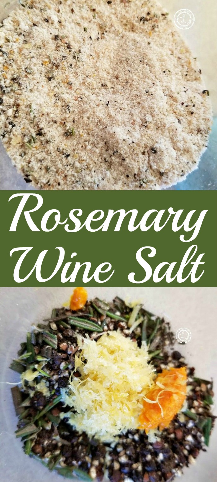 Rosemary Wine Salt ingredients and after being in the dehydrator