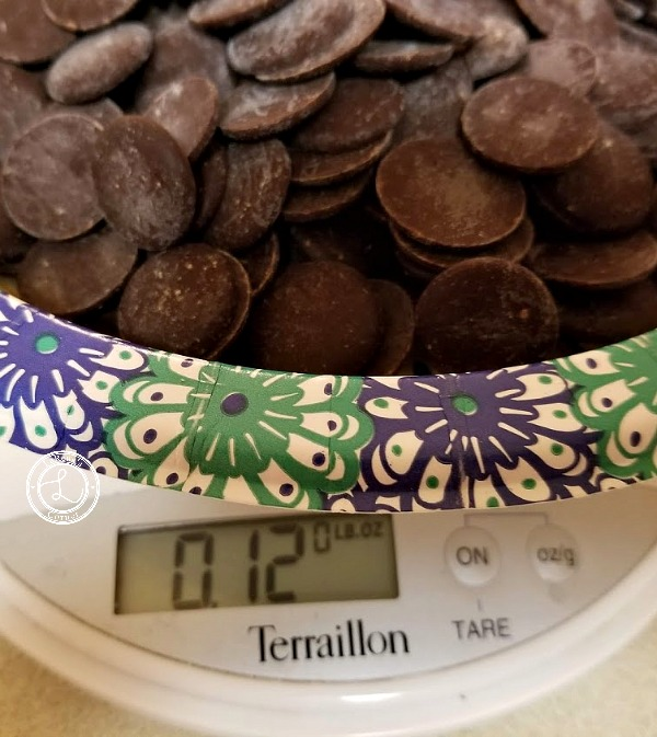 Measuring out unsweetened chocolate