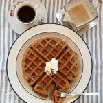 Perfect breakfast with coffee gingerbread waffles and old fashioned buttermilk syrup