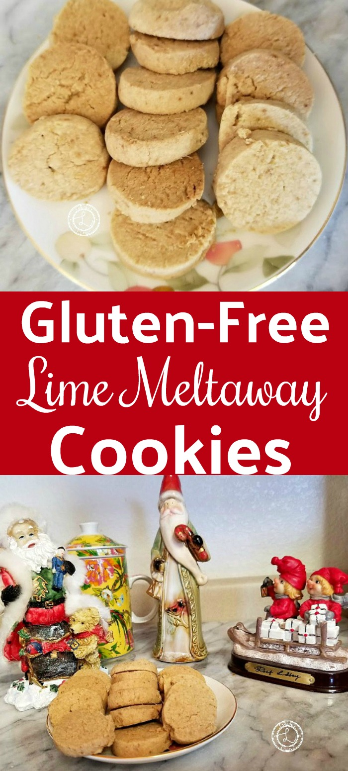 Gluten-Free Lime Meltaway Cookies Recipe on a plate and with Christmas decorations