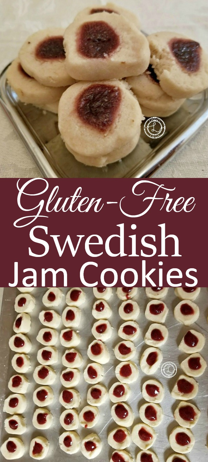 Gluten-Free Swedish Jam Cookies on cookie sheet and some baked on a plate
