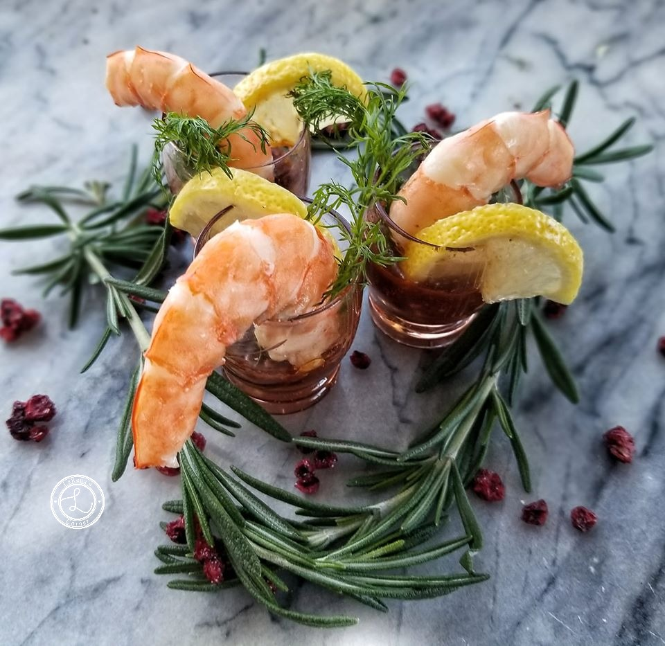 Smokey BBQ Cocktail Sauce with shrimp dill and lemons