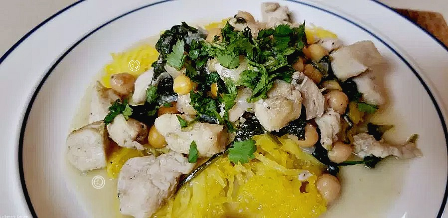 Garbanzo Za'atar Chicken on top of Spaghetti Squash