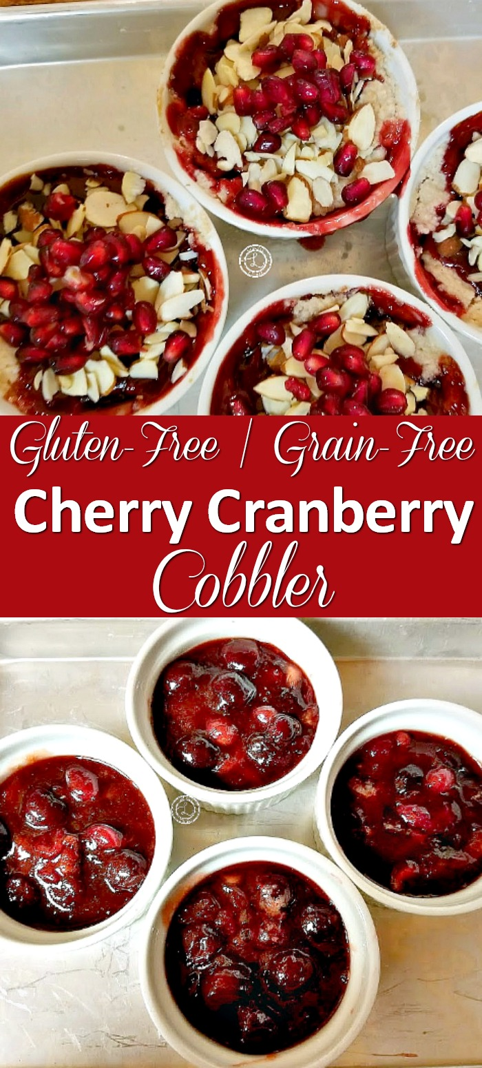 Gluten-Free Cherry Cranberry Cobbler Recipe before going in oven and with toppings.