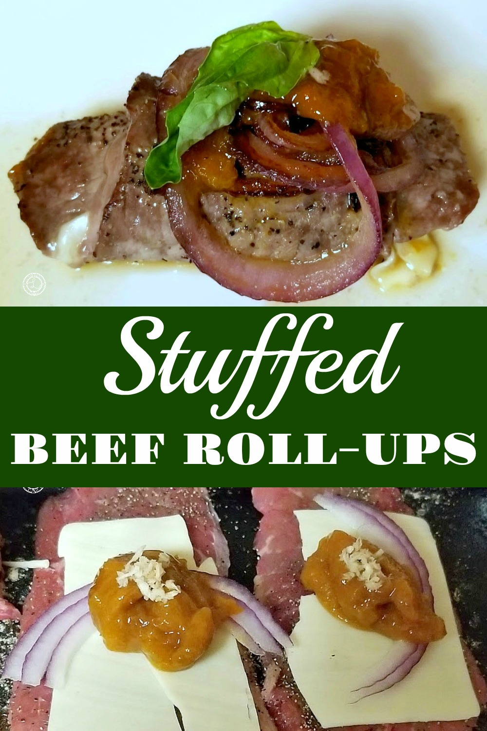 Two pictures. One of the cheese, red onion, apricot preserves, and horseradish. One close-up of the cooked beef roll ups.