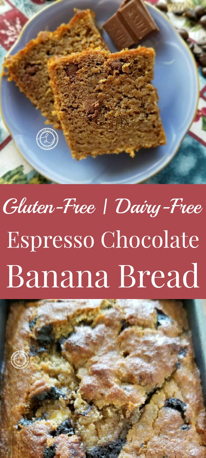 Picture of Gluten-Free Espresso Chocolate Banana Bread and two pieces on a plate