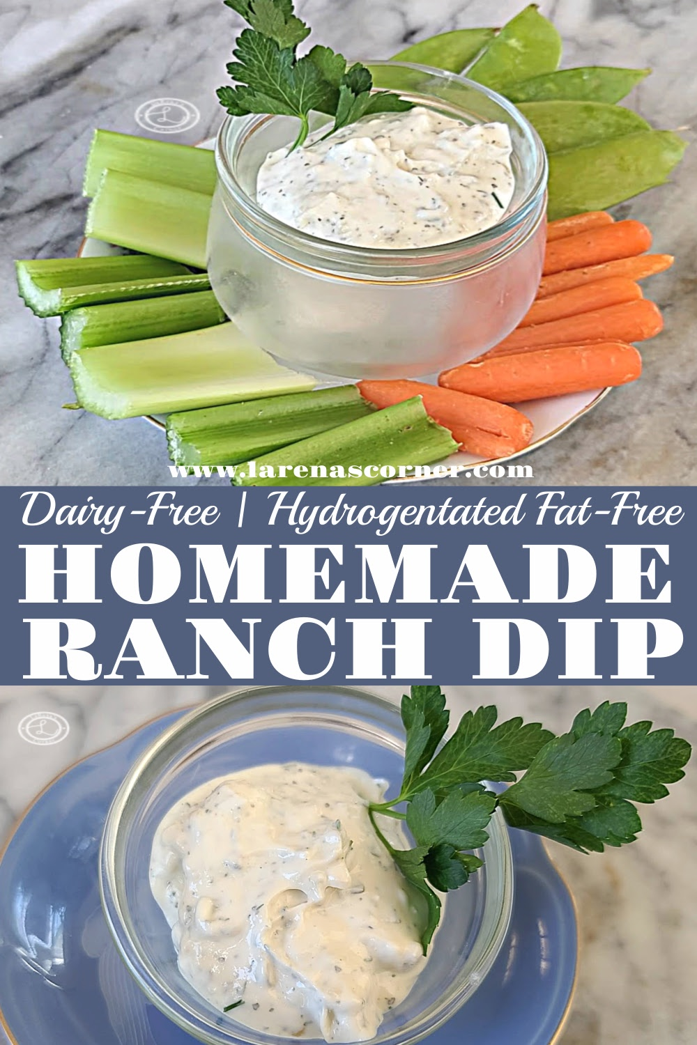 2 pictures of Dairy-Free Ranch Dip. One with just the dip. One photo of the dip with veggies.