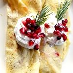 Festive Holiday Crepes that are gluten-free, grain-free, refined sugar-free, with fresh or seared pears, cranberry sauce, and pomegranate seeds.From Scratch