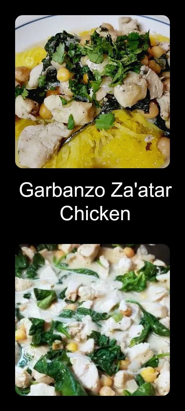Collage Garanzo Za'atar Chicken Top dinner Bottom: making dinner