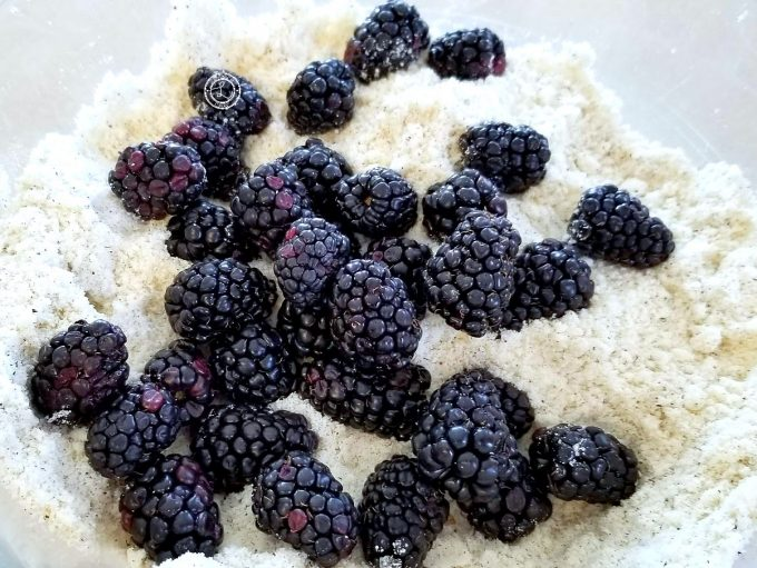 Adding blackberries to the dry ingredients