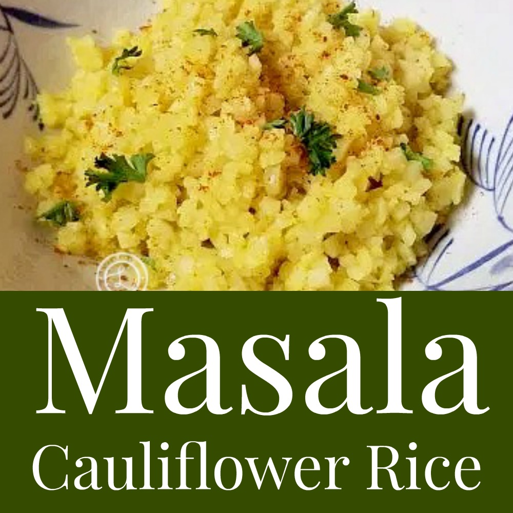Masala Caulflower Rice in a bowl with parsley