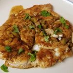ve CItrus Chicken thinly pounded out breasts cooked in a wine and citus sauce. Chicken is moist and flavorful is able to be cut with a fork.