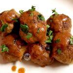 Pineapple Turkey Meatballs with coconut aminos teriyaki with freshly minced garlic and freshly grated ginger. They are sweet, savory moist and roasted.