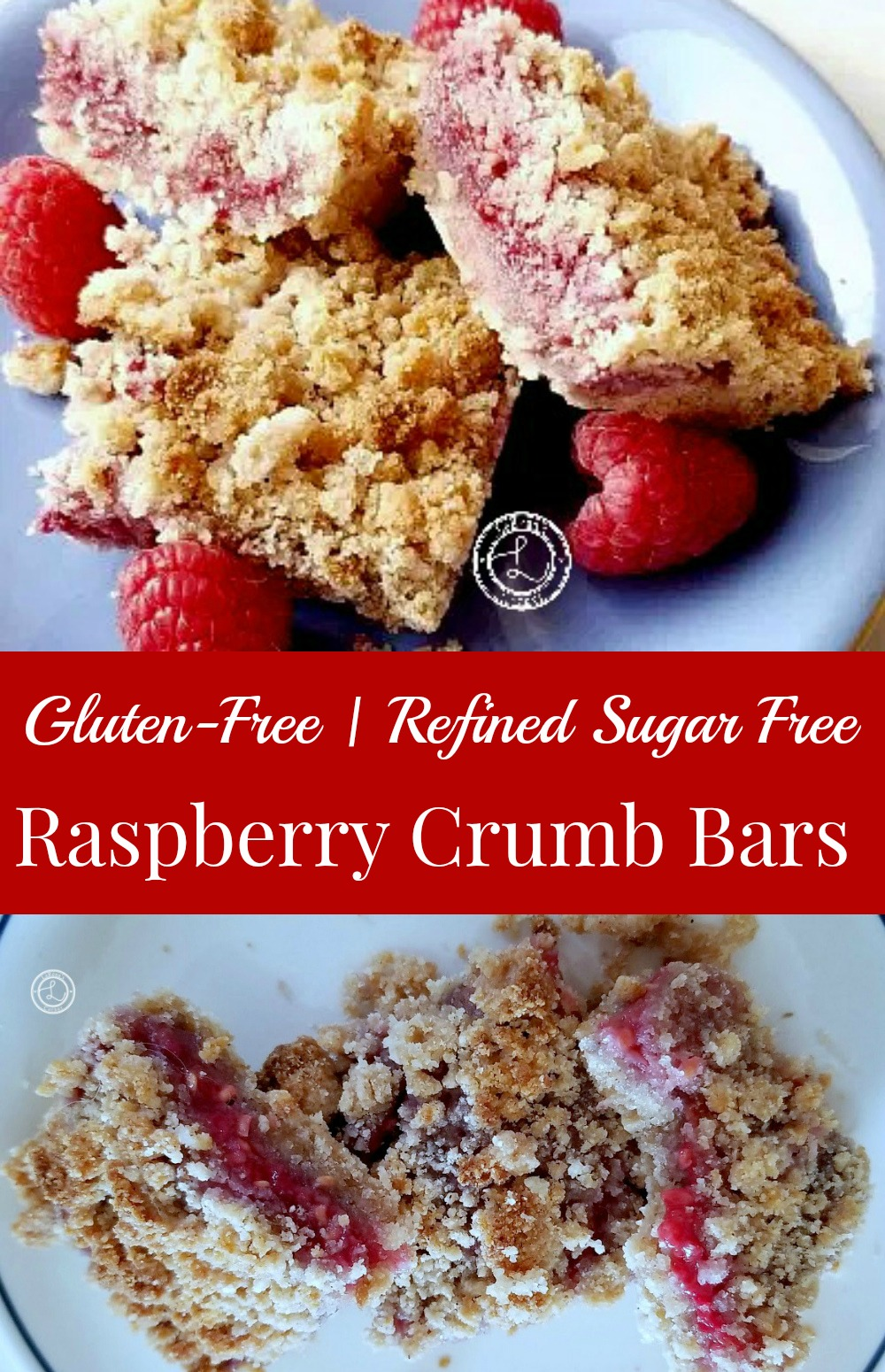 Raspberry bars in a line with a bite out of one. Second picture is a group of three with raspberries