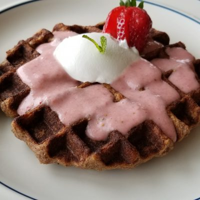 Waffle with Strawberry Smoothie Topping