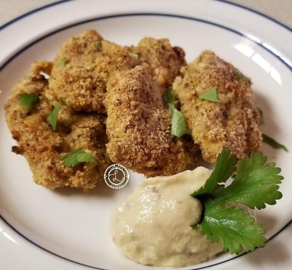 Yacon Mustard with Gluten-Free Chicken Fingers.