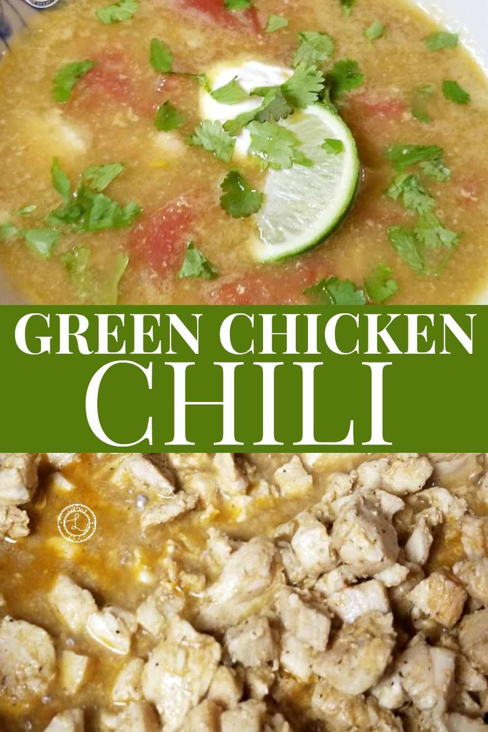 Green CHicken Chili in a bowl with topings