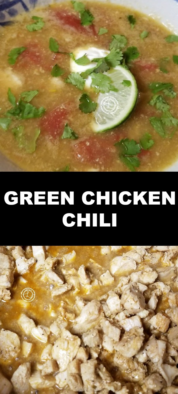 Collage: Top: Chili. Bottom: Cooked chicken