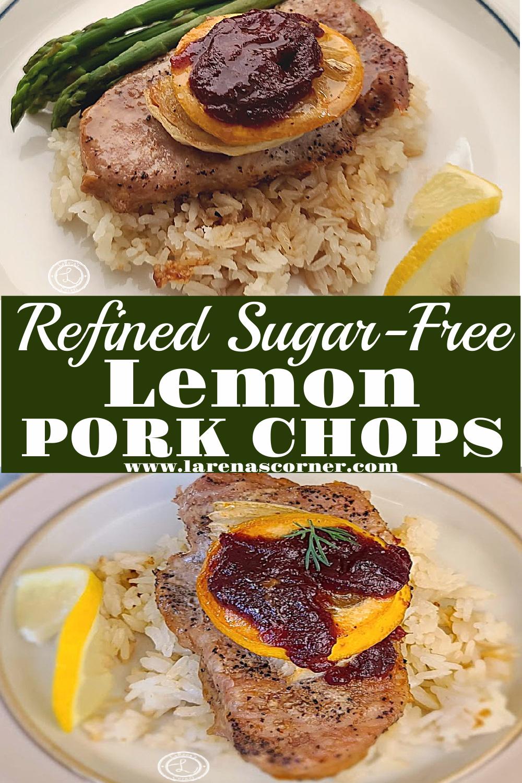 Lemon Pork Chops. 2 pictures of lemon pork chops on a bed of cauliflower rice.